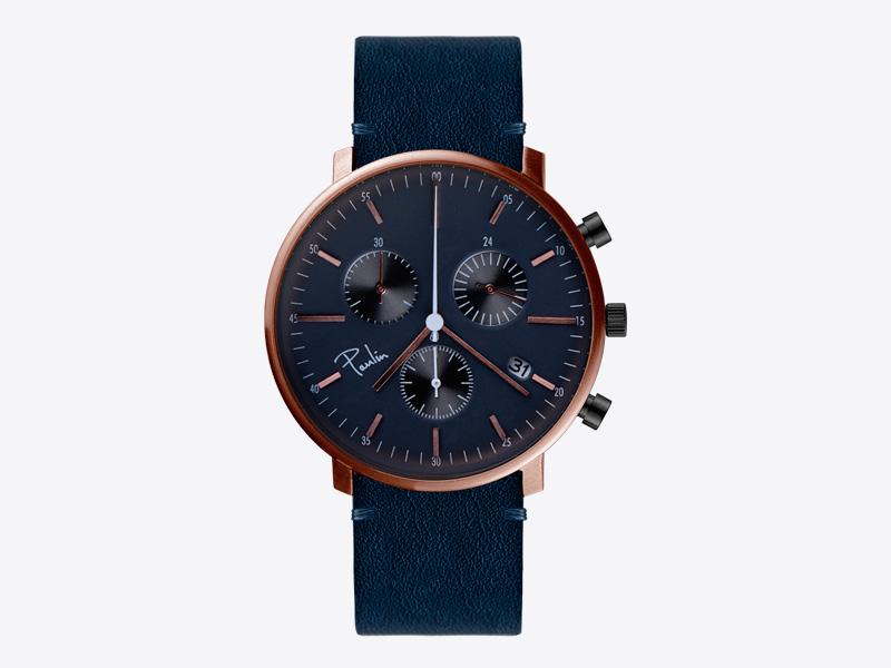 Paulin – pánské hodinky C200A, náramkové, modrý ciferník, modrý kožený náramek, ocelové zlacené pouzdro