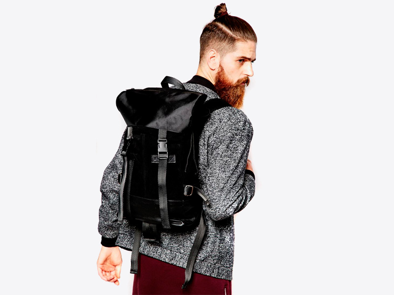 Asos – kožený batoh – černý, trendy a stylový, ze semiše a lesklé kůže