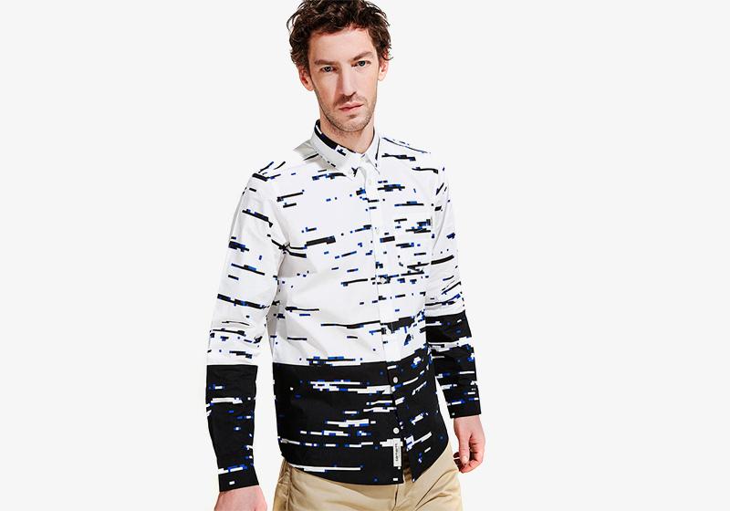 Carhartt WIP – bílo-modrá košile se vzorem a s dlouhým rukávem – pánská