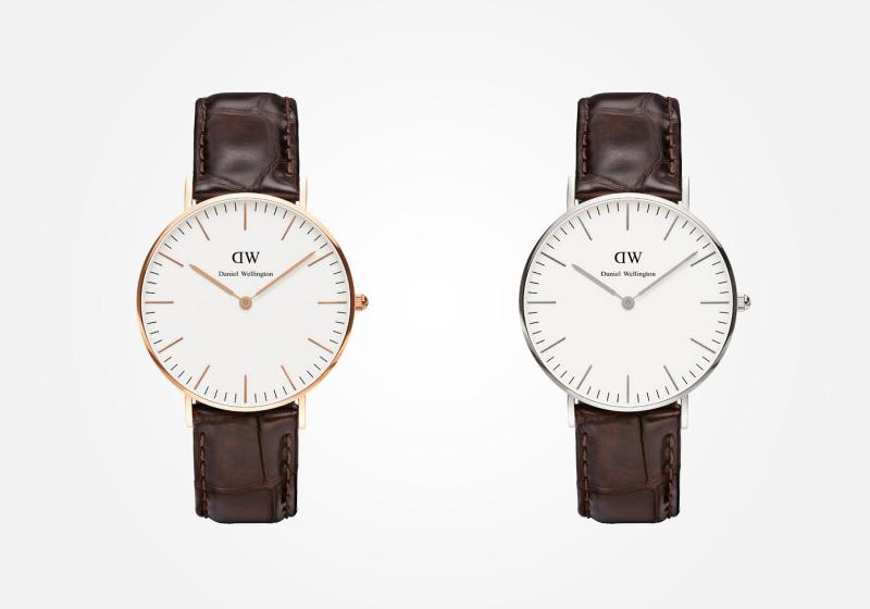 Daniel Wellington – dámské hodinky, náramkové, elegantní – Classic York Lady – hnědý kožený náramek, bílý ciferník