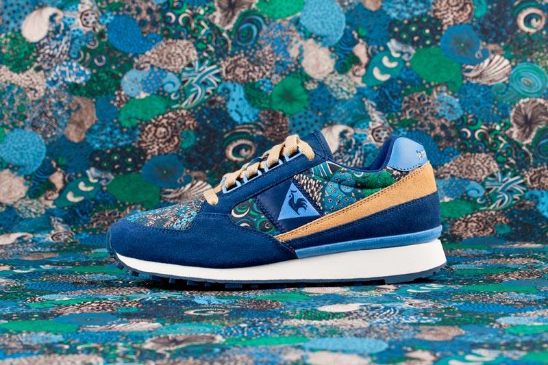 Le Coq Sportif x Liberty – běžecké boty (tenisky) se vzory, modro-zelené