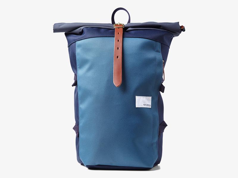 Nanamica – luxusní plátěný batoh, modrý, stylový trendy batoh, cyklistický