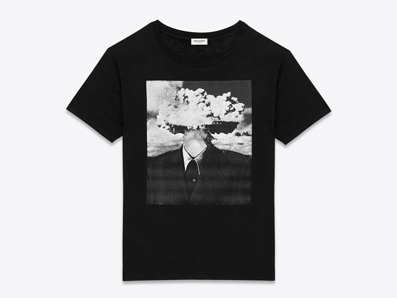 Bruce Conner x Saint Laurent – luxusní tričko s potiskem, černé, Bombhead