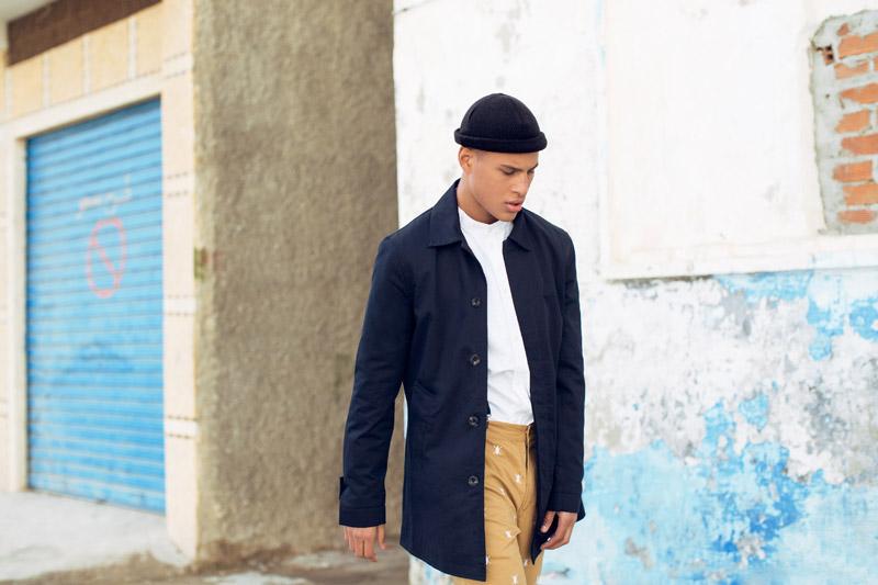 Daily Paper – pánská dlouhá jarní/letní bunda s knoflíky – modrá, kabát
