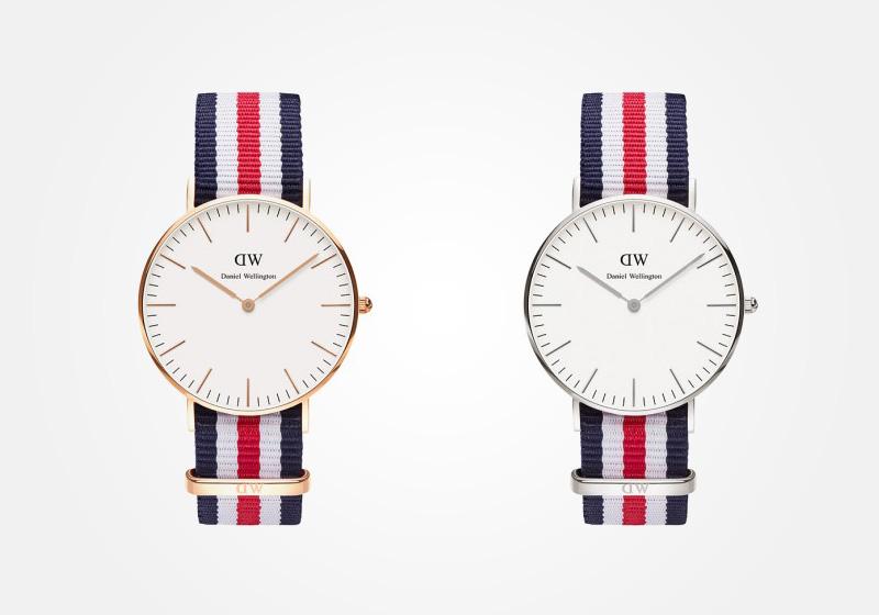 Daniel Wellington – dámské hodinky, náramkové, elegantní – Classic Canterbury Lady – modro-bílo-červený NATO náramek z textilu, bílý ciferník