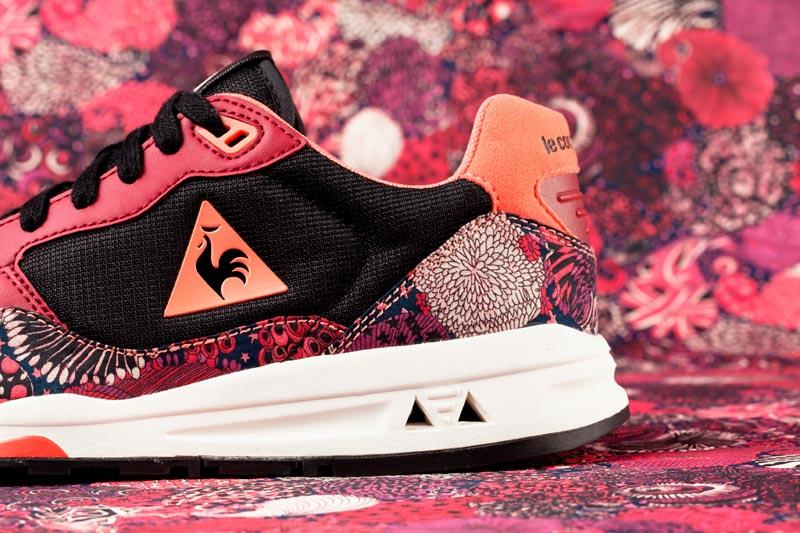 Le Coq Sportif x Liberty – boty (tenisky) na běhání se vzory, černo-červeno-růžové