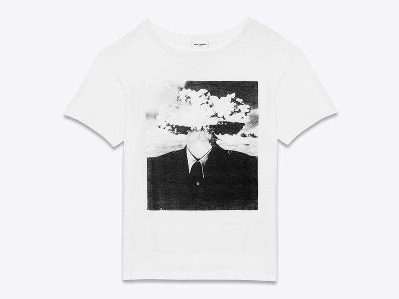 Bruce Conner x Saint Laurent – luxusní tričko s potiskem, bílé, Bombhead