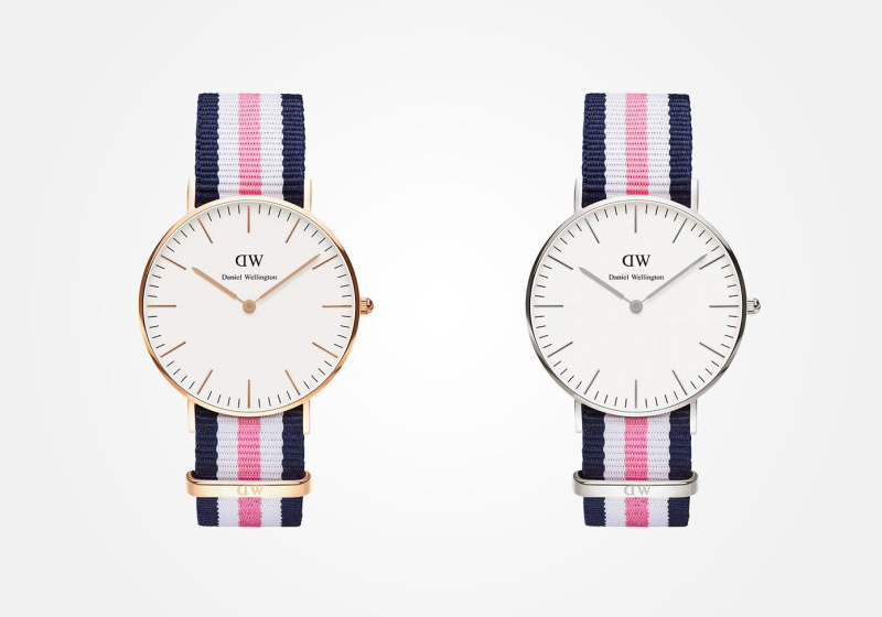 Daniel Wellington – dámské hodinky, náramkové, elegantní – Classic Southampton Lady – modro-bílo-růžový textilní NATO náramek, bílý ciferník