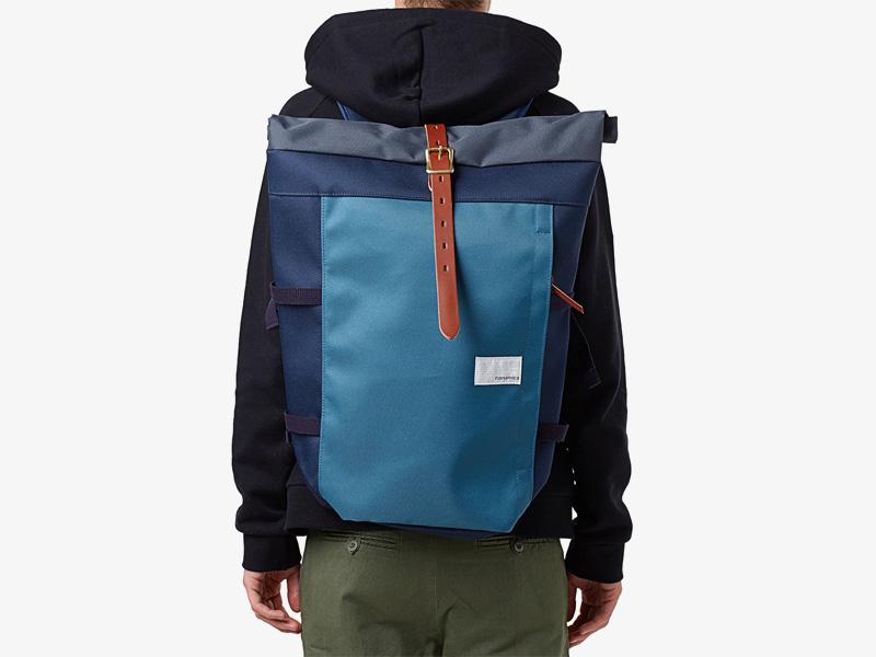 Nanamica – plátěný batoh, luxusní, modrý, stylový trendy batoh, cyklistický