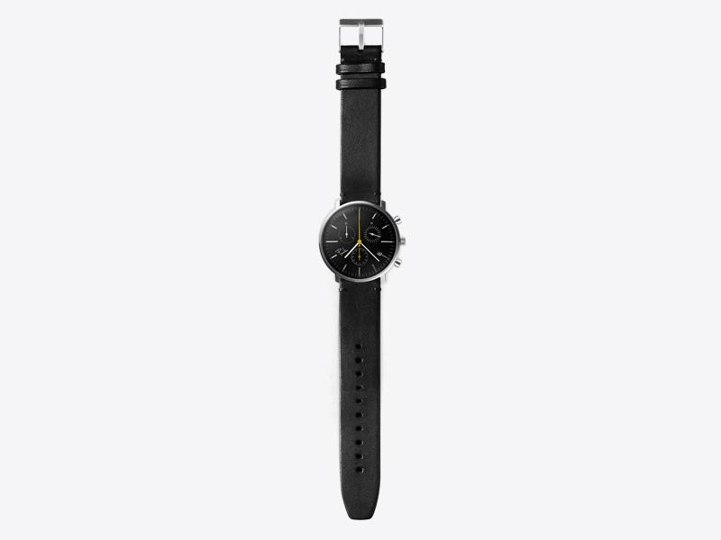 Paulin – pánské hodinky C200B, náramkové, černý ciferník, černý kožený náramek, ocelové pouzdro