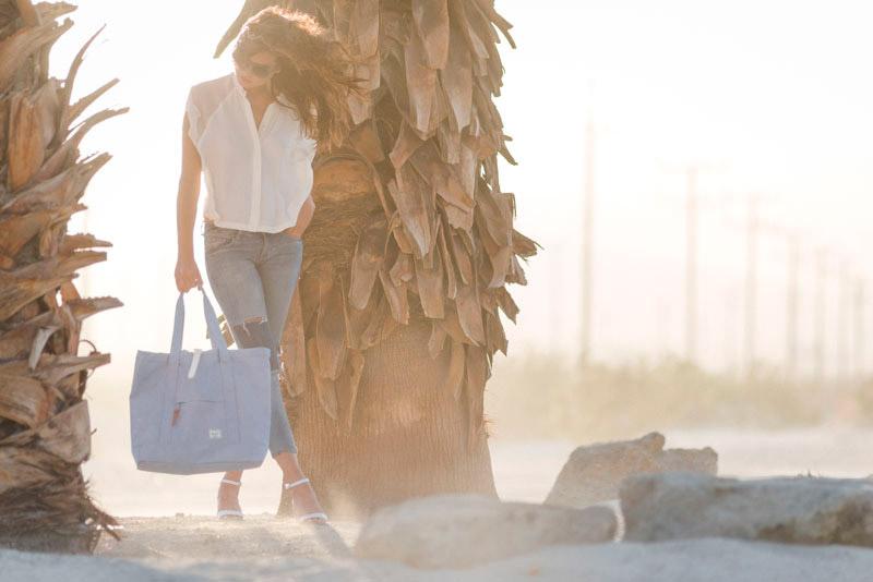 Batohy Herschel Supply – lookbook – jaro 2015, plážová/nákupní taška do ruky Market Tote – bledě modrá