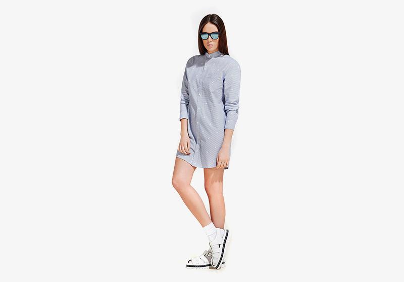 Carhartt WIP – dámské košilové šaty, bledě modré, dlouhá košile