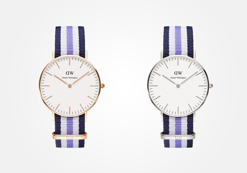 Daniel Wellington – dámské hodinky, náramkové, elegantní – Classic Trinity Lady – modro-bílo-fialový textilní NATO náramek, bílý ciferník