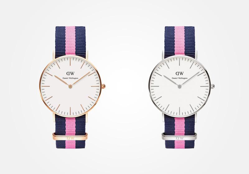 Daniel Wellington – dámské hodinky, náramkové, elegantní – Classic Winchester Lady – modro-růžový NATO náramek z textilu, bílý ciferník