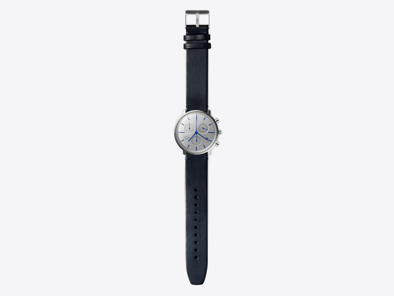 Paulin – pánské hodinky C200D, náramkové, stříbrný ciferník, modrý kožený náramek, ocelové pouzdro