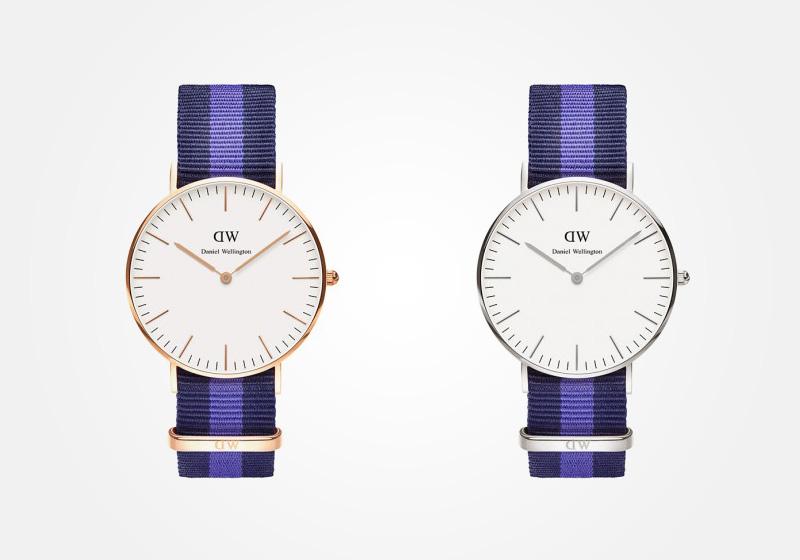 Daniel Wellington – dámské hodinky, náramkové, elegantní – Classic Swansea Lady – modro-bílý textilní NATO náramek, bílý ciferník