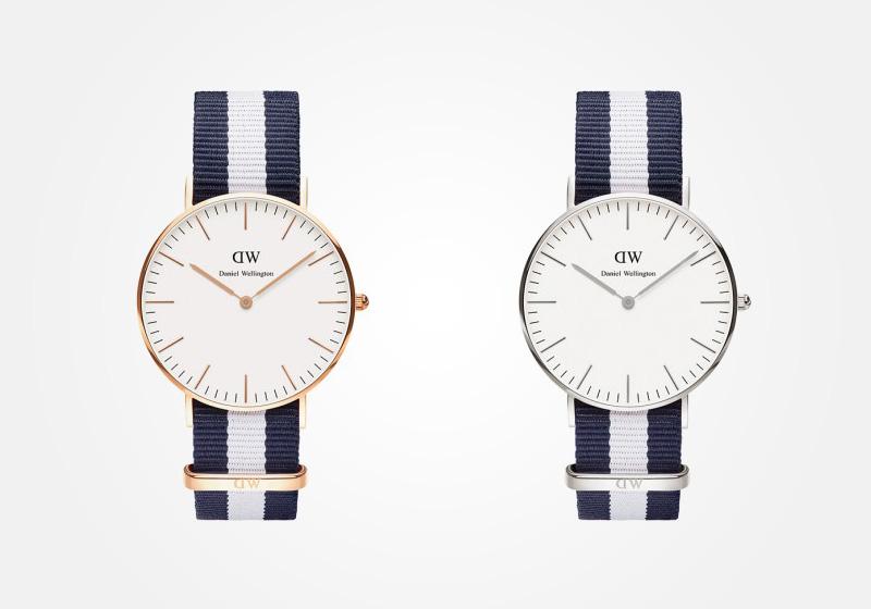 Daniel Wellington – dámské hodinky, náramkové, elegantní – Classic Glasgow Lady – modro-bílý textilní NATO náramek, bílý ciferník
