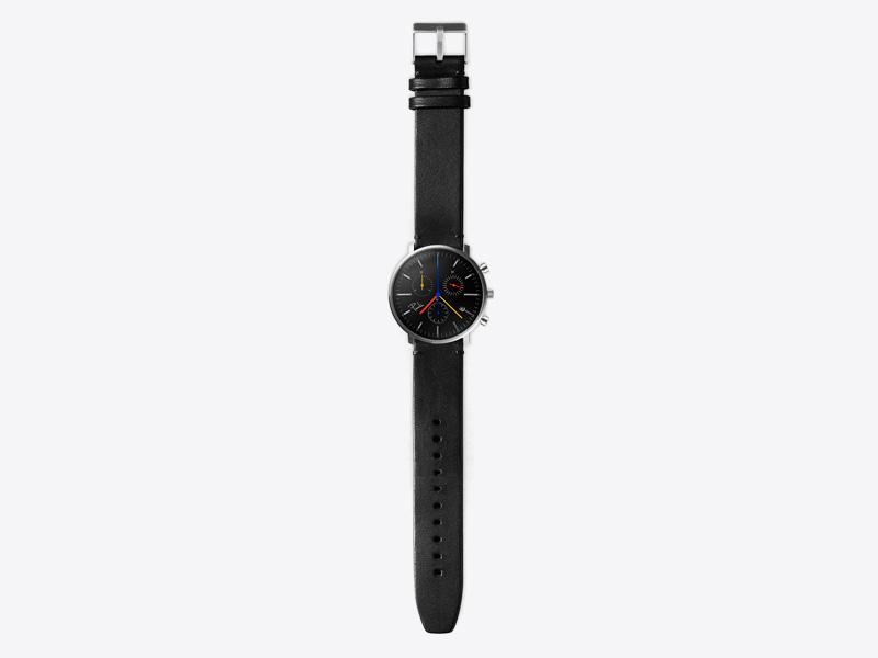 Paulin – pánské hodinky C200C, náramkové, černý ciferník, černý kožený náramek, ocelové pouzdro
