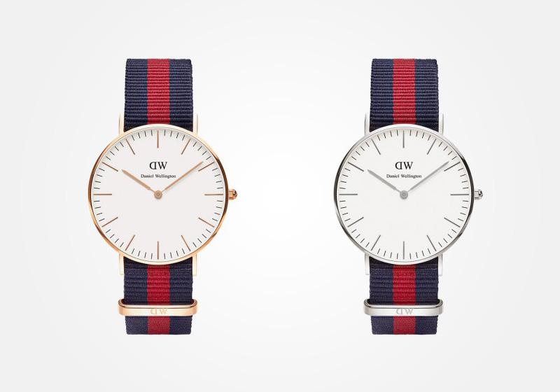 Daniel Wellington – dámské hodinky, náramkové, elegantní – Classic Oxford Lady – modro-červený textilní NATO náramek, bílý ciferník