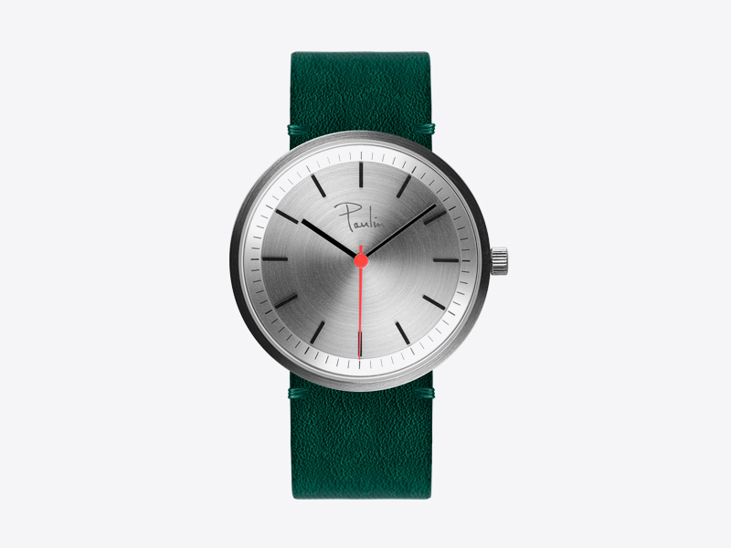 Paulin – pánské a dámské hodinky S75D, náramkové, zelený kožený náramek, ocelové pouzdro, šedý ciferník