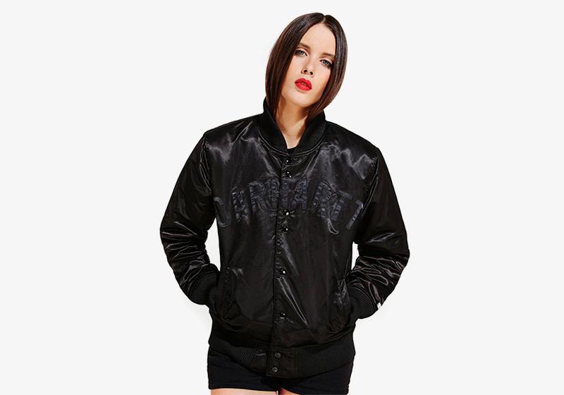 Carhartt WIP – černý kožený bomber – dámský, krátká bunda do pasu