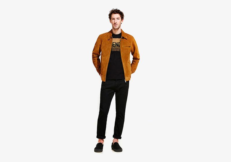 Carhartt WIP – hnědá jarní bunda do pasu – pánská, černé kalhoty