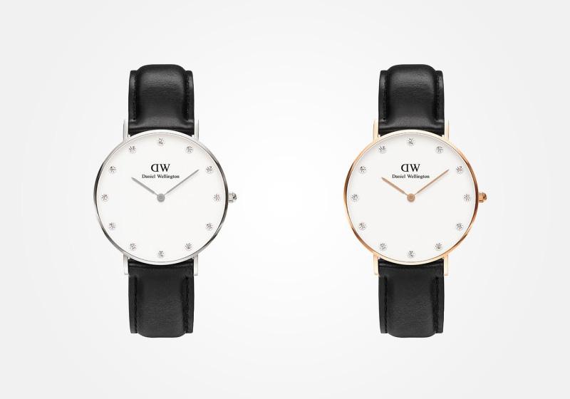 Daniel Wellington – dámské hodinky, náramkové, elegantní – Classy Sheffield Lady – černý kožený náramek, bílý ciferník s kamínky