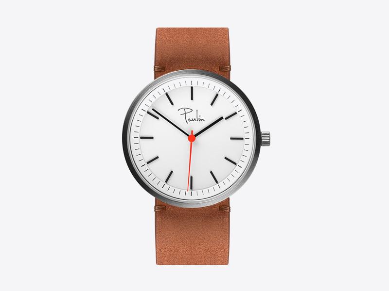 Paulin – pánské a dámské hodinky S75B, náramkové, hnědý kožený náramek, ocelové pouzdro, bílý ciferník
