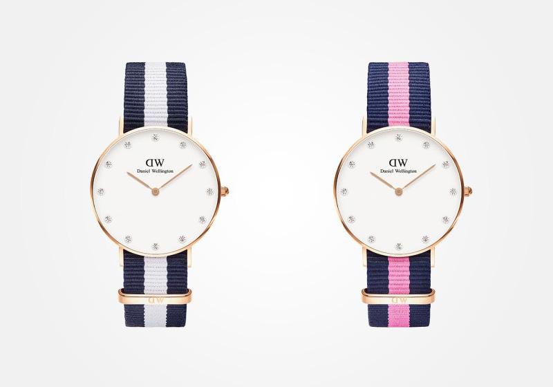 Daniel Wellington – dámské hodinky, náramkové, elegantní – Classy Glasgow, Winchester Lady – modro-bílý a modro-růžový textilní NATO náramek, bílý ciferník s kamínky