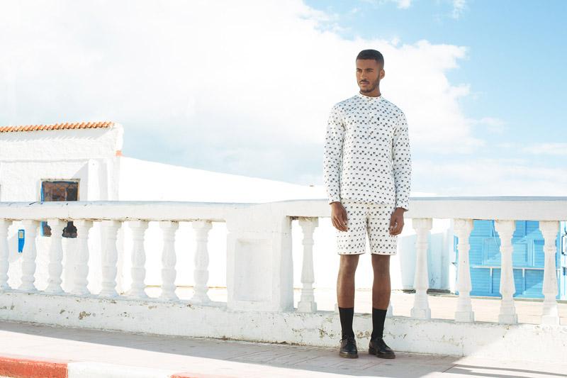 Daily Paper – pánská bílá košile s černými symboly – dlouhý rukáv, bílé šortky/kraťasy se symboly
