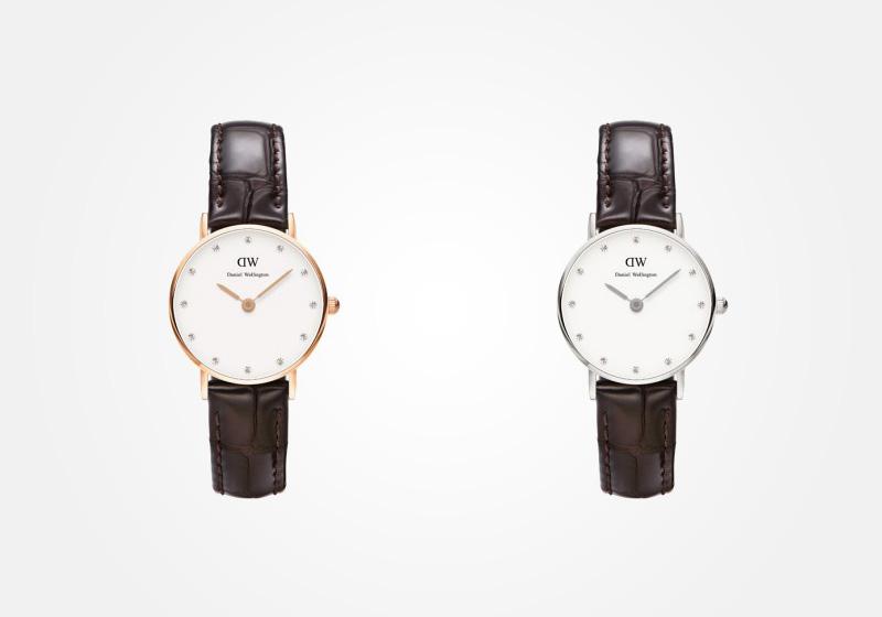Daniel Wellington – dámské hodinky, náramkové, elegantní – Classy York Lady – tmavě hnědý náramek, bílý ciferník s kamínky
