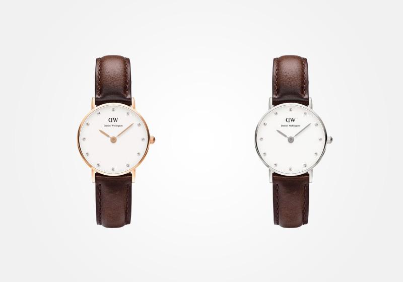 Daniel Wellington – dámské hodinky, náramkové, elegantní – Classy Bristol Lady – tmavě hnědý náramek, bílý ciferník s kamínky
