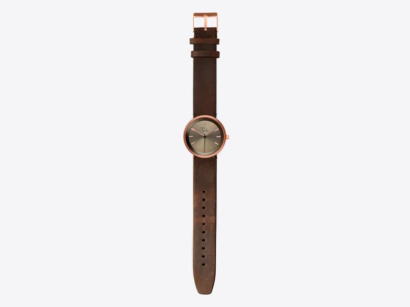 Paulin – pánské a dámské hodinky S75A, náramkové, hnědý kožený náramek, ocelové zlacené pouzdro, hnědý ciferník