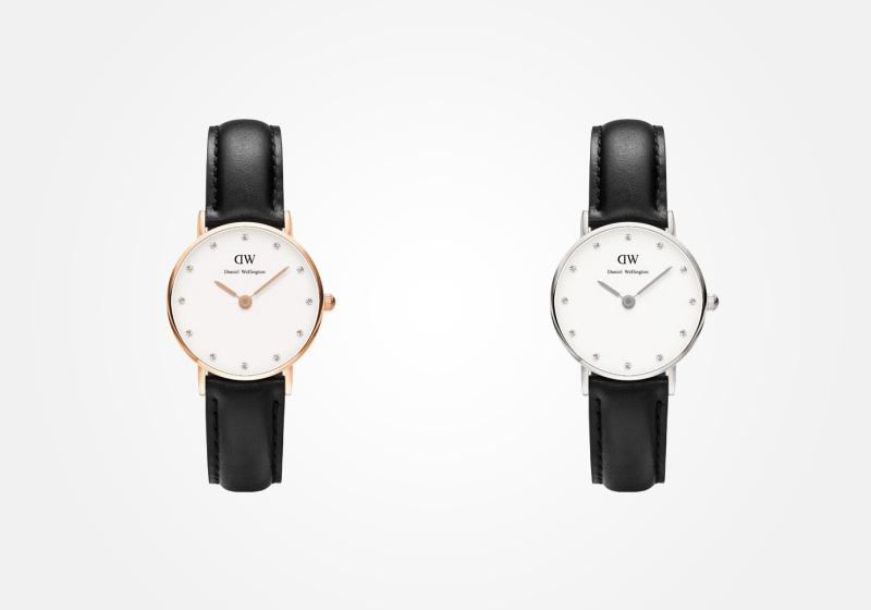 Daniel Wellington – dámské hodinky, náramkové, elegantní – Classy Sheffield Lady – černý náramek, bílý ciferník s kamínky