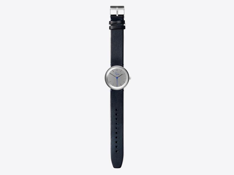 Paulin – pánské a dámské hodinky S75C, náramkové, modrý kožený náramek, ocelové pouzdro, šedý ciferník