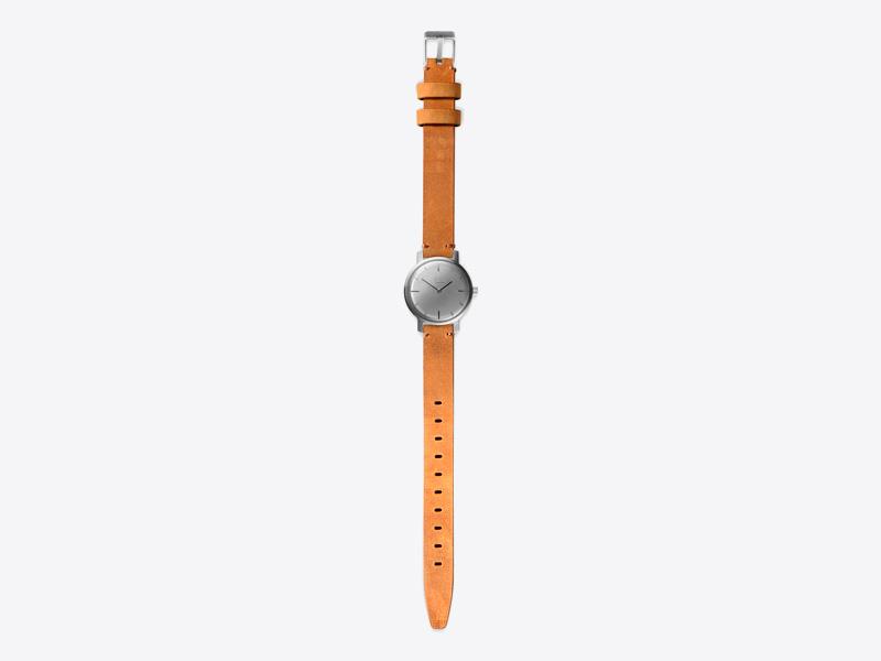 Paulin – dámské hodinky C50C, náramkové, hnědý kožený náramek, ocelové pouzdro, šedý ciferník