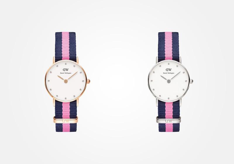 Daniel Wellington – dámské hodinky, náramkové, elegantní – Classy Winchester Lady – modro-růžový textilní NATO náramek, bílý ciferník s kamínky