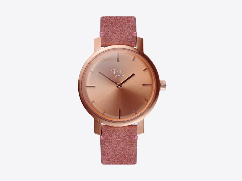 Paulin – dámské hodinky C50B, náramkové, světle červený kožený náramek, ocelové zlacené pouzdro