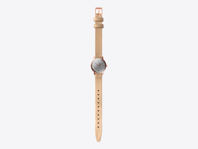 Paulin – dámské hodinky C50D, náramkové, bledě zelený kožený náramek, ocelové pouzdro, šedý ciferník