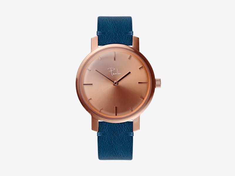 Paulin – dámské hodinky C50A, náramkové, modrý kožený náramek, ocelové zlacené pouzdro