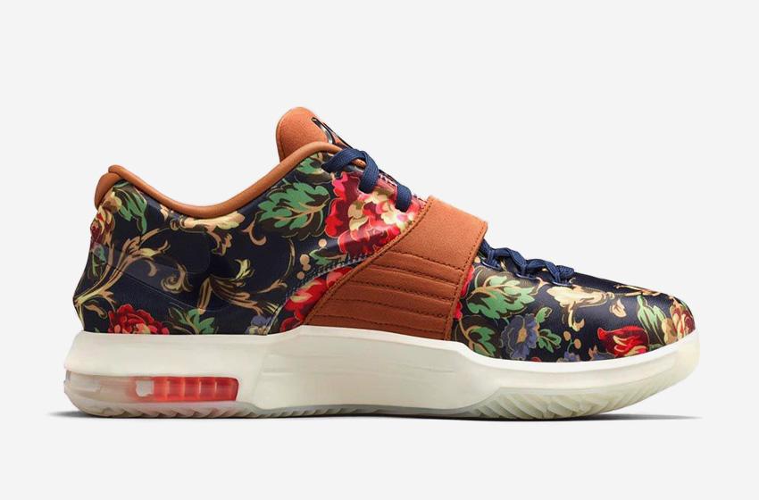 Nike KD 7 EXT Floral – boty – basketbalové, Kevin Durant, květinový vzor, saténový svršek