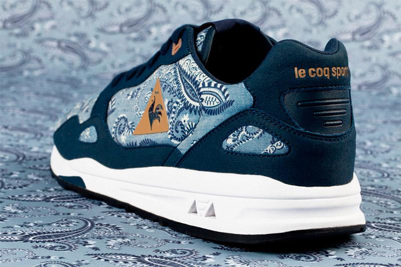 Le Coq Sportif x Liberty – běžecké boty LCS R 900 se vzorem, modré, detail zezadu | Běžecká obuv