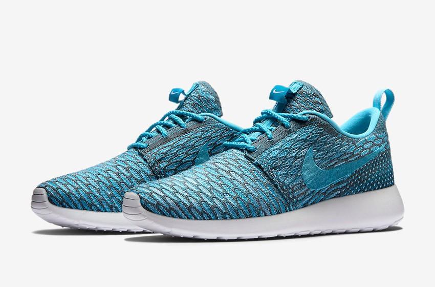 Nike Roshe Run Flyknit – běžecké boty, tenisky, dámské – šedo-modré