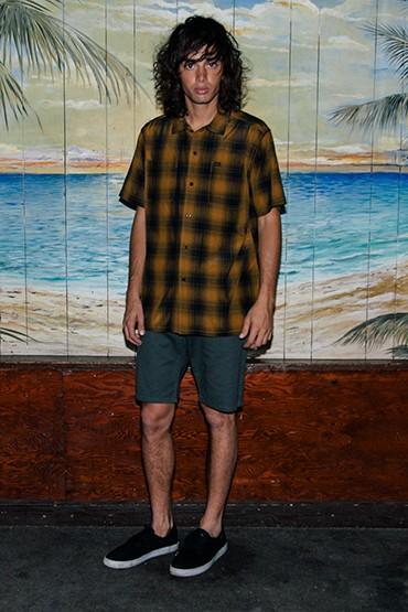 Obey – pánská hnědá károvaná košile – krátký rukáv, šortky (kraťasy)