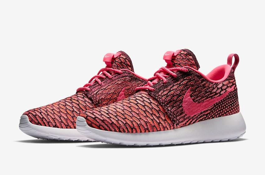 Nike Roshe Run Flyknit – běžecké boty, tenisky, dámské – růžovo-červené