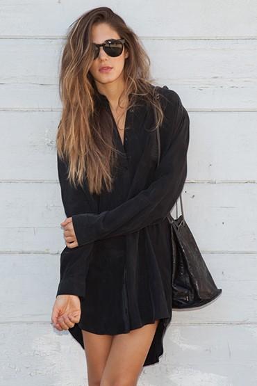 Obey – dámské černé košilové šaty, dlouhý rukáv | jarní oblečení – dámské
