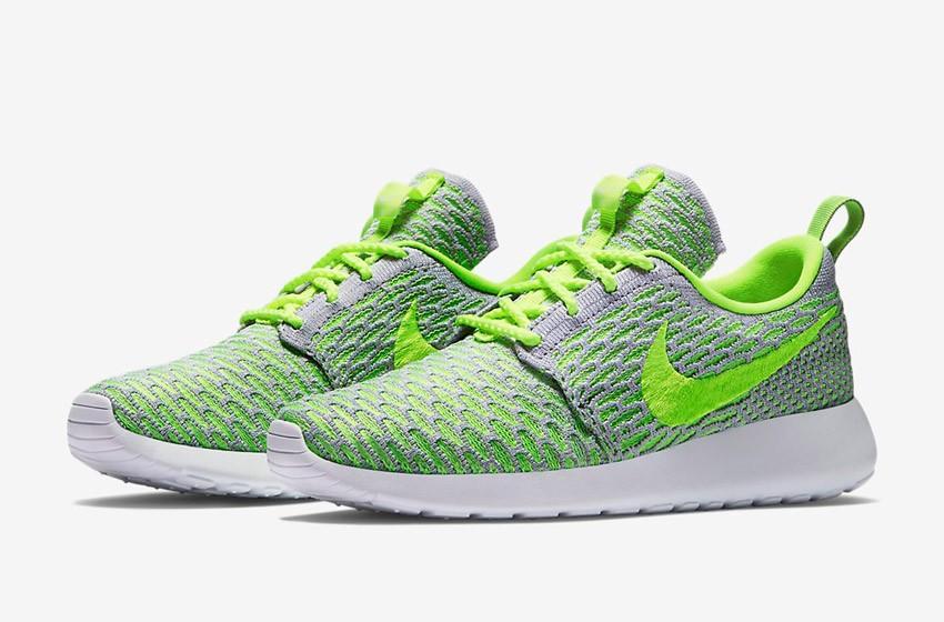 Nike Roshe Run Flyknit – běžecké boty, tenisky, dámské – šedo-zelené