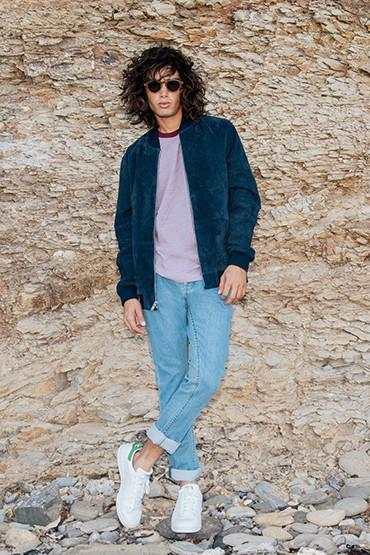 Obey – modrá krátká bunda do pasu – pánská, světle modré džíny (jeansy)