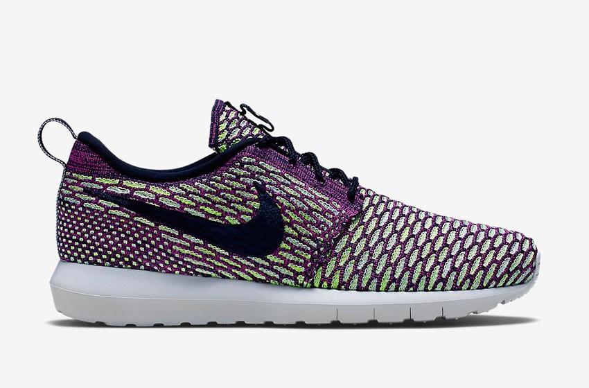 Nike Roshe Run Flyknit – běžecké boty, tenisky, pánské – fialovo-zelené