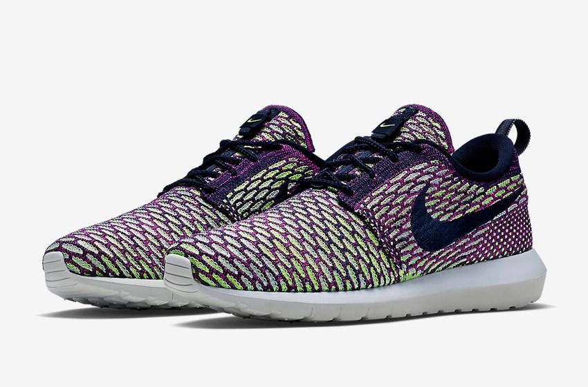 Nike Roshe Run Flyknit – běžecké boty, tenisky, pánské – zeleno-fialové